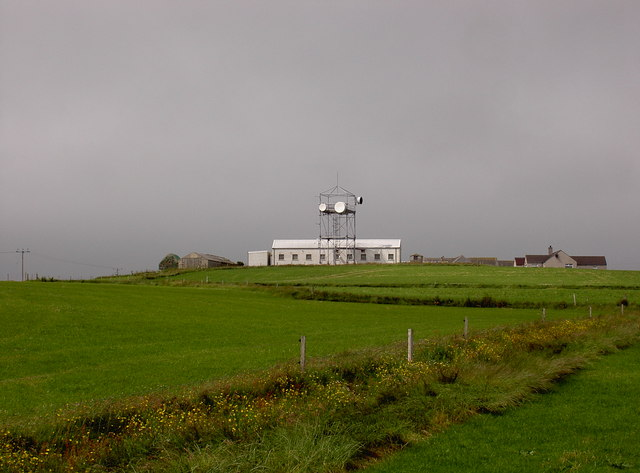 BT telephone exchange and mast, Westray