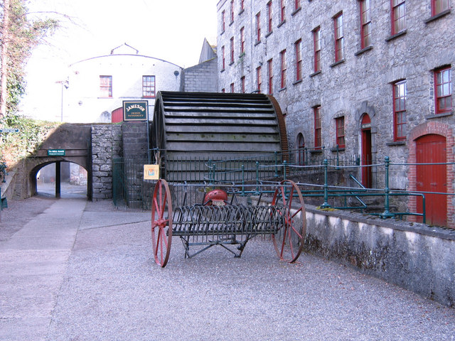 The waterwheel which drove the malt grinding stones at the Midleton Distillery