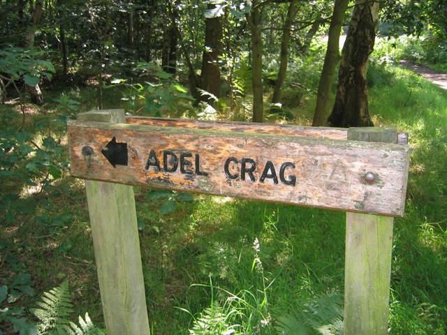 Signpost to Adel Crag