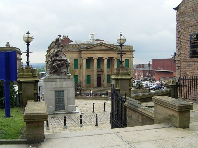 View of War Memorial and The Old Town Hall.