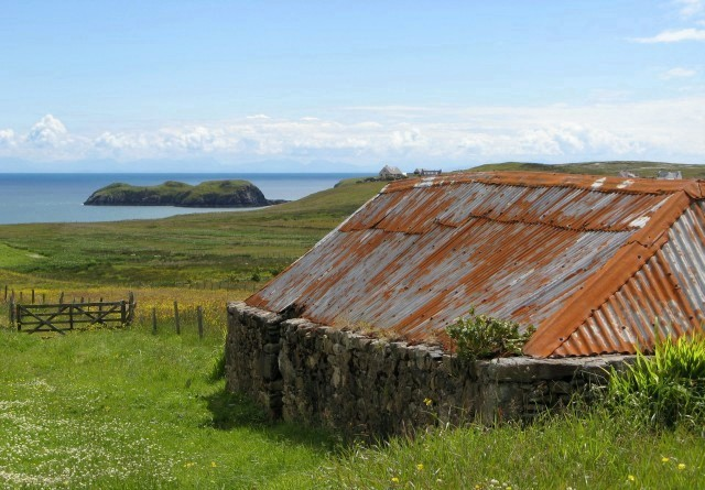 Red roof on a blackhouse