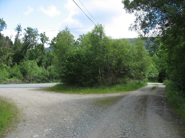The junction of the forestry road with the Cwmheisian road