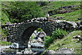 NY2203 : Sheep crossing Lingcove Bridge by Philip Halling