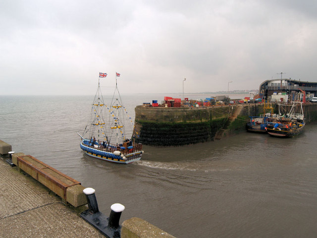 Pirate ship leaving Bridlington harbour.