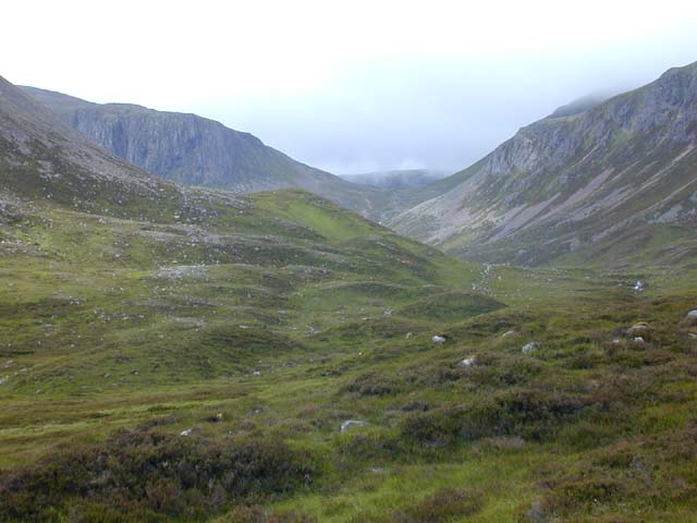 View across upper Glen Derry towards Coire Etchachan