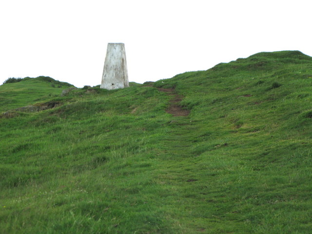 The trig point above Sewingshield Crags