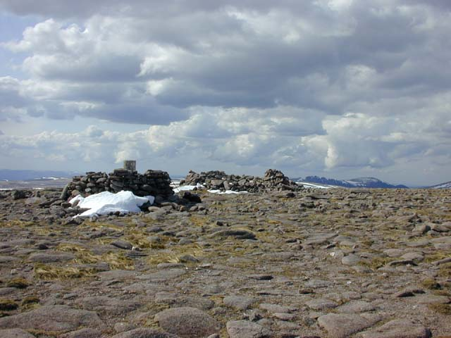 The summit cairns of Beinn Bhrotain
