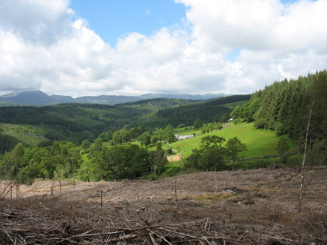 View across clear fell to the fields around Cwm-heisian-ganol