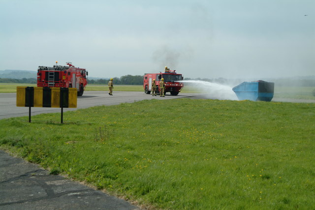 Royal Navy personnel practice fire drill on Merryfield airfield