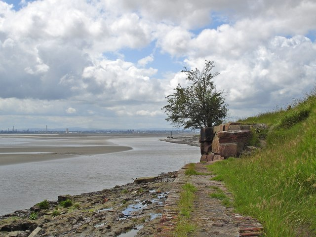 View down the Mersey from the shore at Hale Cliff