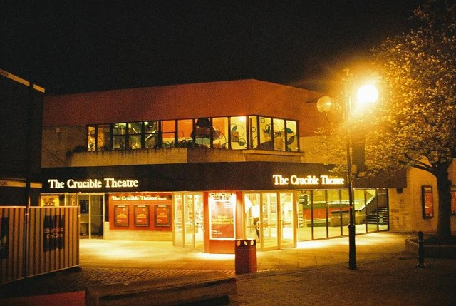 Sheffield: the Crucible at midnight