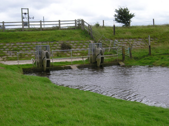 Sluice gates at the end of the River Cocker (Coastal side at High Tide)