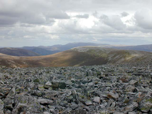 View east along An Socach's long ridge