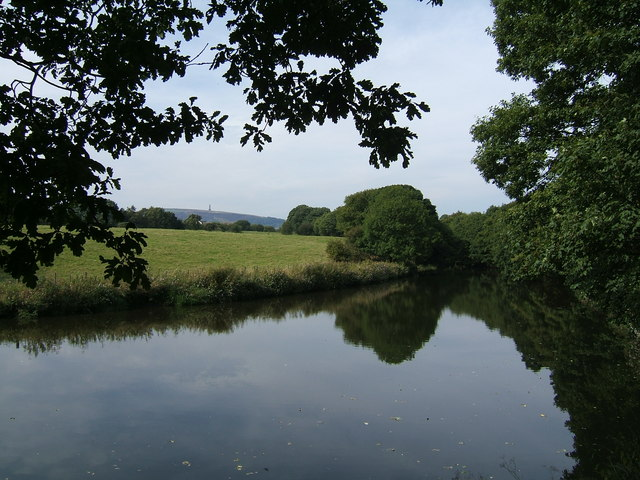 Looking towards Holcombe Hill from the weir at Burrs