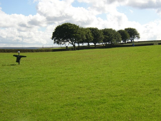 Field with scarecrows near Keighley Tarn, Keighley