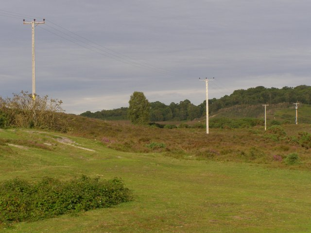 Low voltage power lines, Vales Moor, New Forest