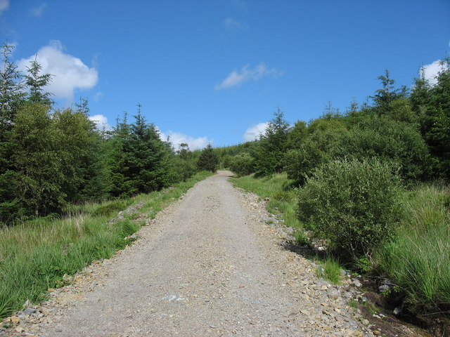 View back along the cycle route to the Bedd y Coedwr road
