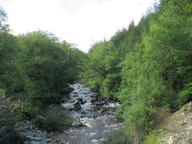 Afon Gain upstream of Pont Gwynfynydd