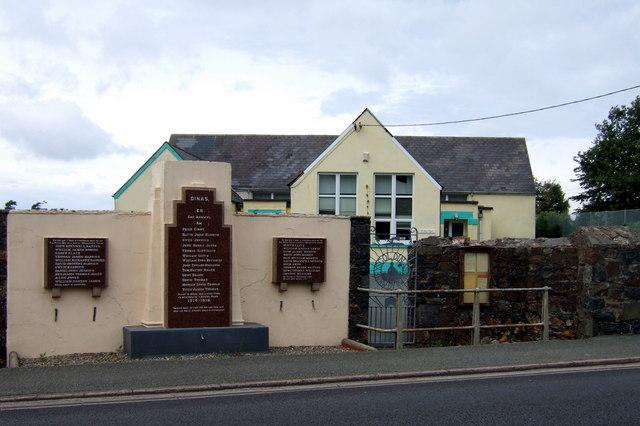 Dinas Cross war memorial and school