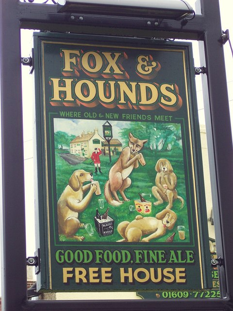 Pub sign for the Fox & Hounds, Bullamoor