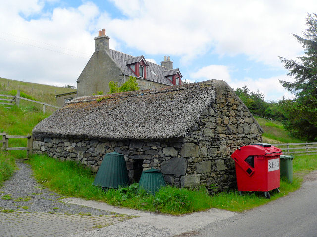 Old stone bothy, thatched