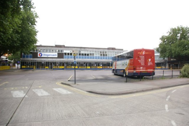 Bedford bus station, with the infamous X5 bus in the foreground