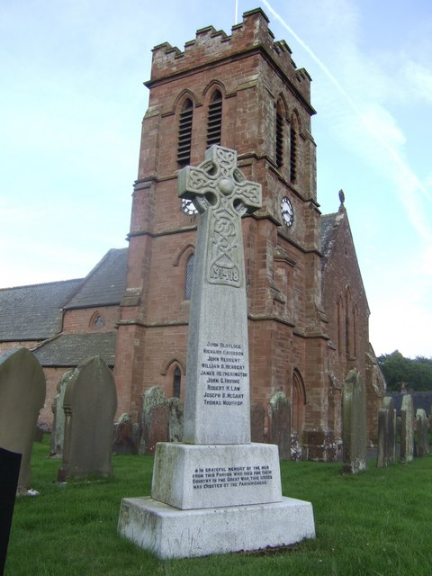 St. Kentigern's church tower and war memorial, Irthington