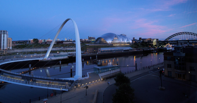Newcastle quayside at night.