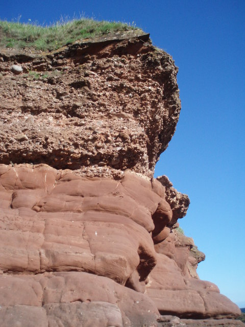 Close up of conglomerate and red sandstone, Whiting Ness