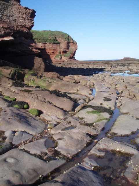 Cart ruts at the foot of the cliffs
