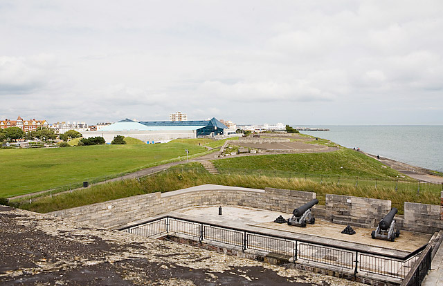 View of coastline from ramparts of Southsea Castle