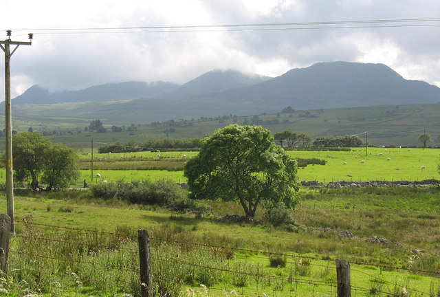 View towards the Eden Valley from the A470 with the Rhinogydd in the background