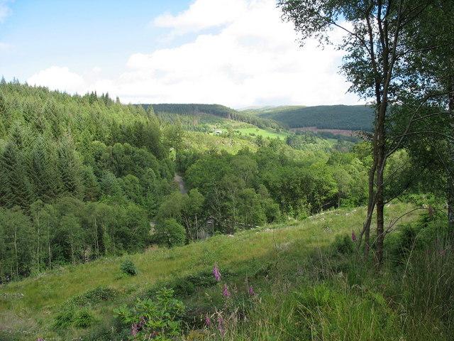 View South-East  down Cwm Cain