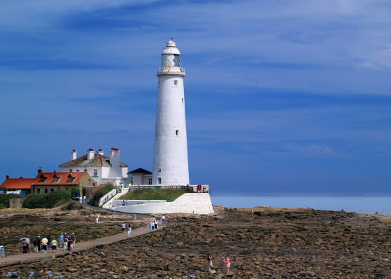 Causeway to St Mary's lighthouse Whitley Bay.