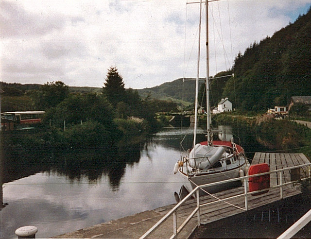 Yacht on the Crinan Canal at Bellanoch