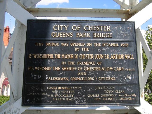 Commemorative Plaque on Queen's Park Suspension Bridge
