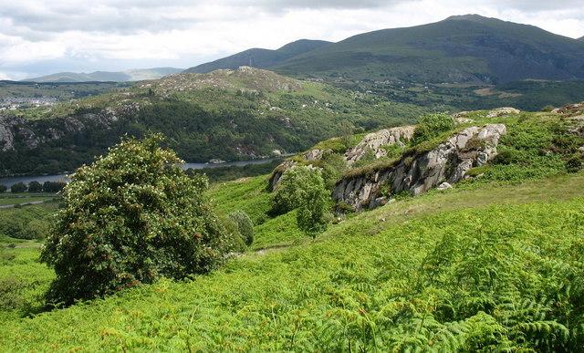 Rock outcrops above Llwyncoed Farm