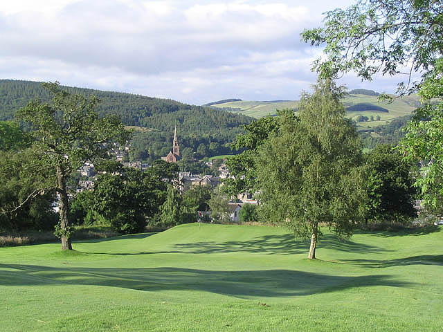 The 17th green at Galashiels Golf Course