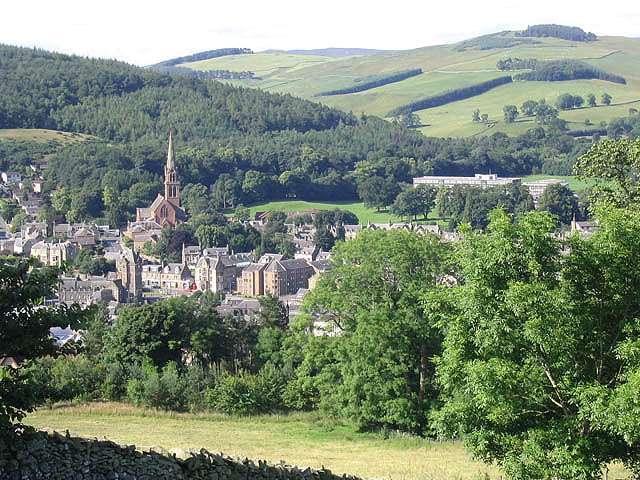Galashiels town centre viewed from the golf course