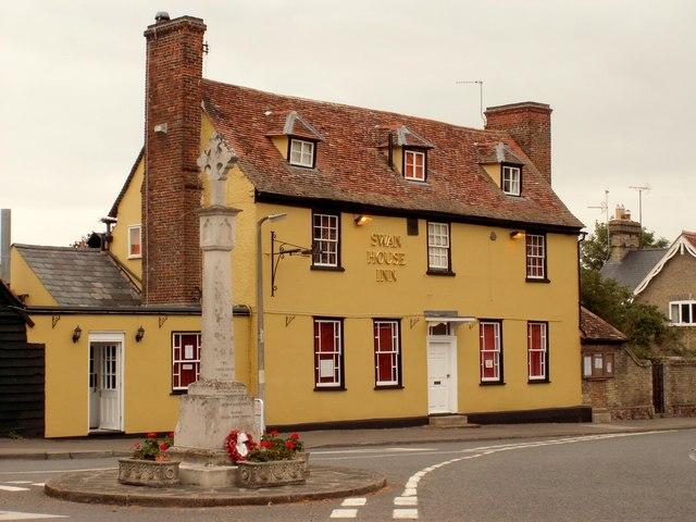 The 'Swan House Inn' and War Memorial, Fowlmere