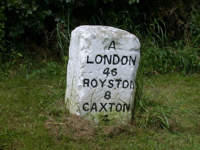 Milestone London 46 Royston 8 Caxton 4