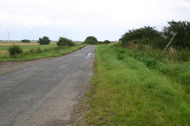 Fenside road passes a bridleway