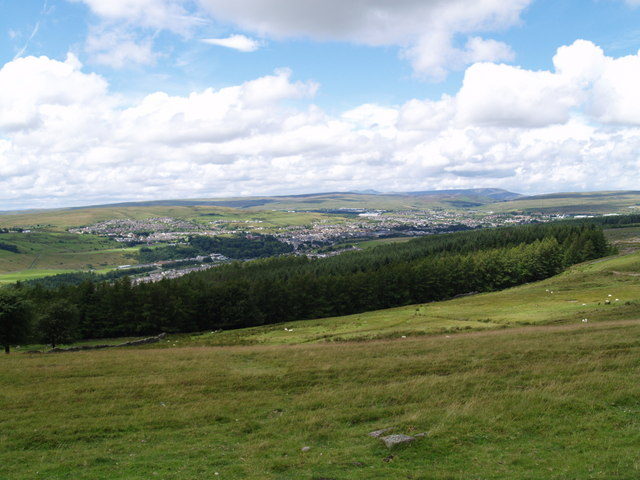 View of woodland and Rhymney from Manmoel Common