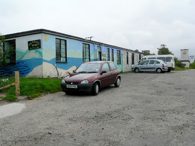 Wartime RAF building used as cafe at craft village