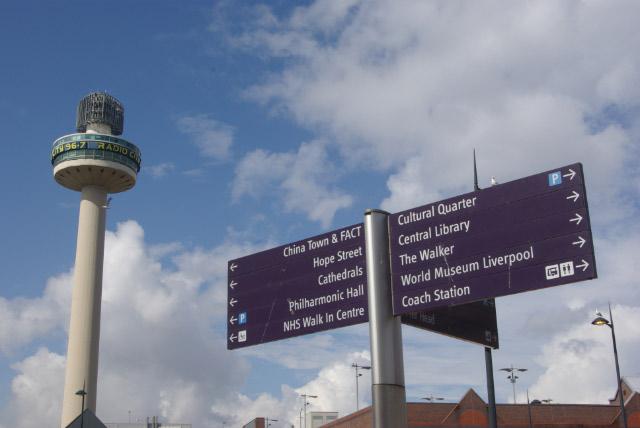 Pedestrian Signpost, Lime Street, Liverpool