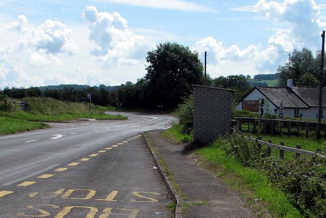 Road junction at Llanvihangel Gobion