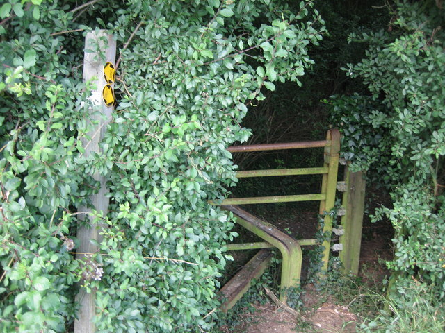 Stile entering wood, track of disused railway