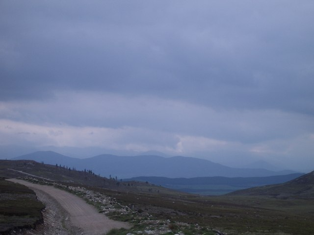The recently extended track and grouse moor, with Cairngorms in the distance