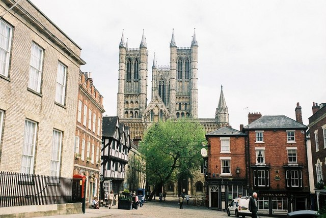 Lincoln: junction of Castle Hill and Bailgate