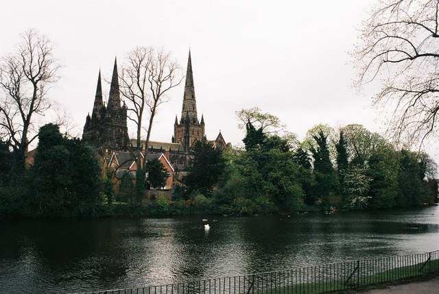 Lichfield: lake and cathedral